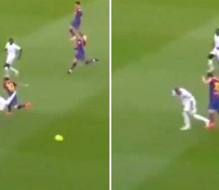 """Sergio Ramos fez um corte """"sem olhar"""" absurdo a Lionel Messi durante o clássico Barcelona vs. Real Madrid"""
