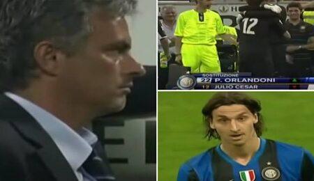 Vídeo raro mostra o momento em que José Mourinho se recusou a substituir Ibrahimovic por considerar que o jogador não deu tudo em campo