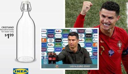 IKEA lança garrafas de água com o nome de Cristiano Ronaldo depois do engraçado incidente do jogador com a Coca-Cola