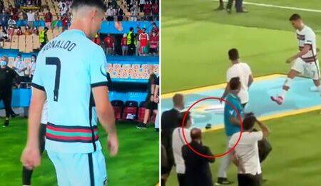 Vídeo mostra Cristiano Ronaldo a atirar e a pontapear a braçadeira de capitão depois da derrota com a Bélgica