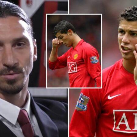 """Zlatan Ibrahimović diz que Cristiano Ronaldo foi """"levado ao colo"""" por Wayne Rooney na sua primeira passagem pelo United"""