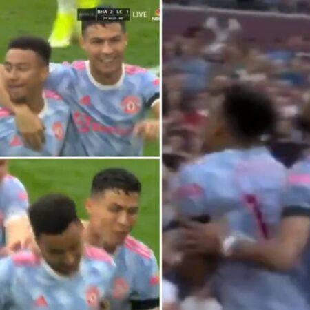 Cristiano Ronaldo e Bruno Fernandes forçaram fisicamente Jesse Lingard a celebrar o seu golo da vitória