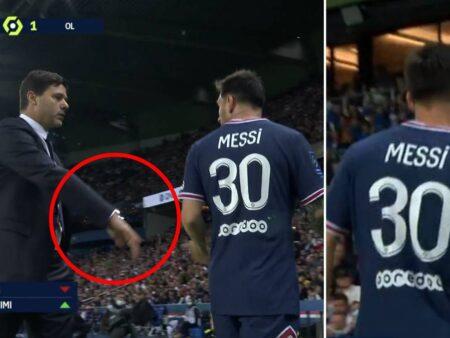 Lionel Messi IGNORA Pochettino depois de ter sido substituído e a tensão é evidente